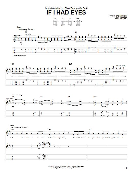 Jack Johnson If I Had Eyes sheet music notes and chords. Download Printable PDF.