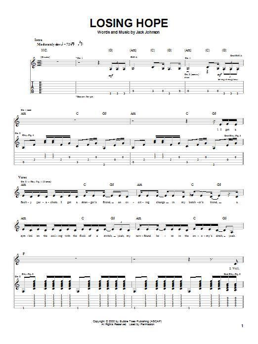 Jack Johnson Losing Hope sheet music notes and chords