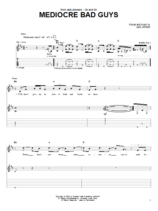 Jack Johnson Mediocre Bad Guys sheet music notes and chords. Download Printable PDF.