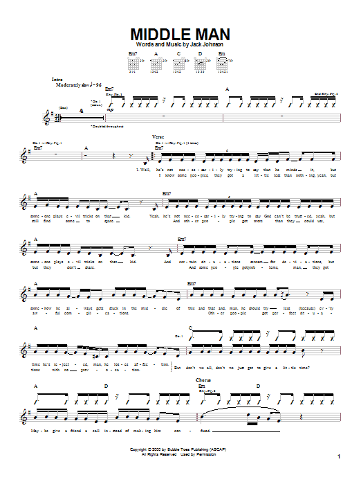 Jack Johnson Middle Man sheet music notes and chords. Download Printable PDF.