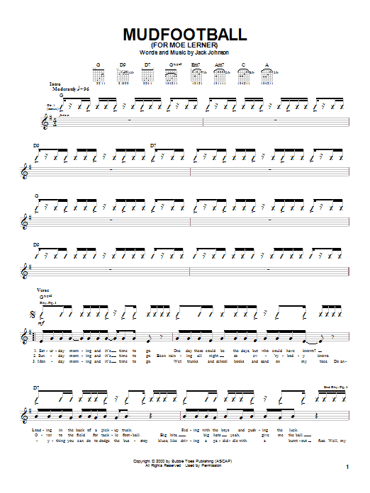 Jack Johnson Mudfootball (For Moe Lerner) sheet music notes and chords