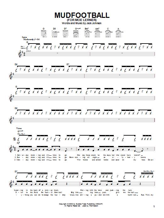 Jack Johnson Mudfootball (For Moe Lerner) sheet music notes and chords. Download Printable PDF.
