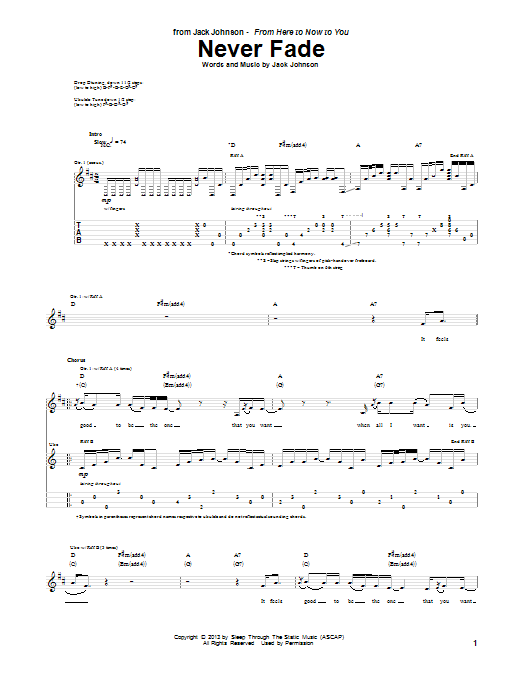 Jack Johnson Never Fade sheet music notes and chords. Download Printable PDF.