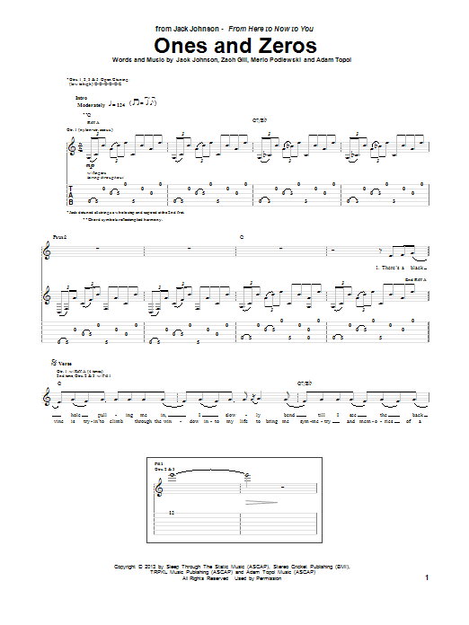 Jack Johnson Ones And Zeros sheet music notes and chords. Download Printable PDF.
