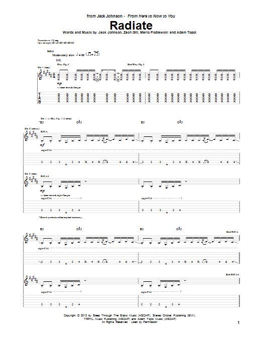 Jack Johnson Radiate sheet music notes and chords. Download Printable PDF.