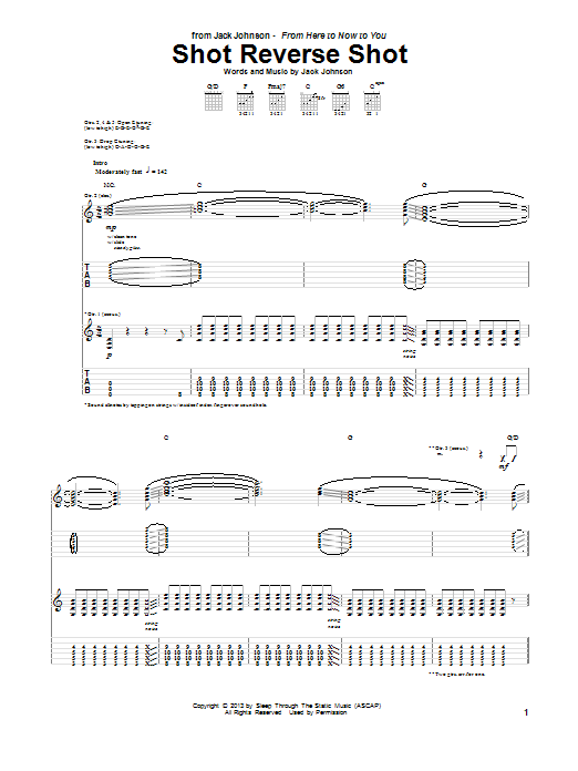 Jack Johnson Shot Reverse Shot sheet music notes and chords. Download Printable PDF.