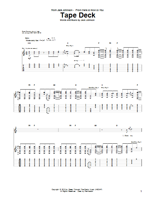 Jack Johnson Tape Deck sheet music notes and chords. Download Printable PDF.