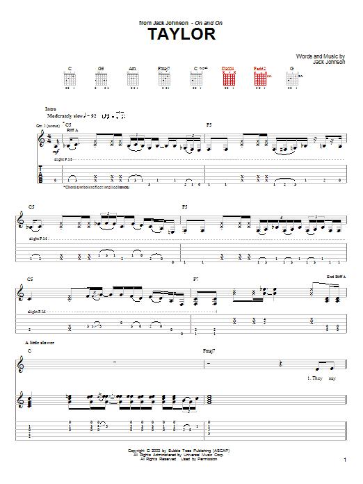 Jack Johnson Taylor sheet music notes and chords. Download Printable PDF.