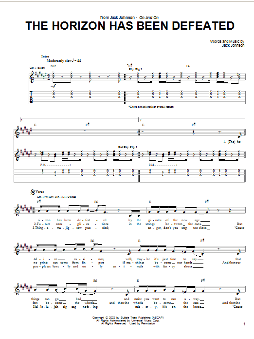 Jack Johnson The Horizon Has Been Defeated sheet music notes and chords