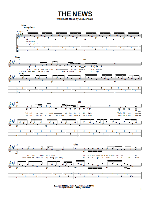 Jack Johnson The News sheet music notes and chords. Download Printable PDF.
