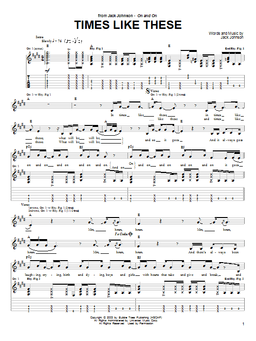 Jack Johnson Times Like These sheet music notes and chords
