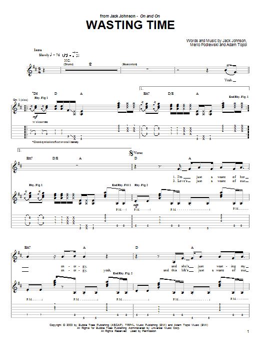 Jack Johnson Wasting Time sheet music notes and chords. Download Printable PDF.