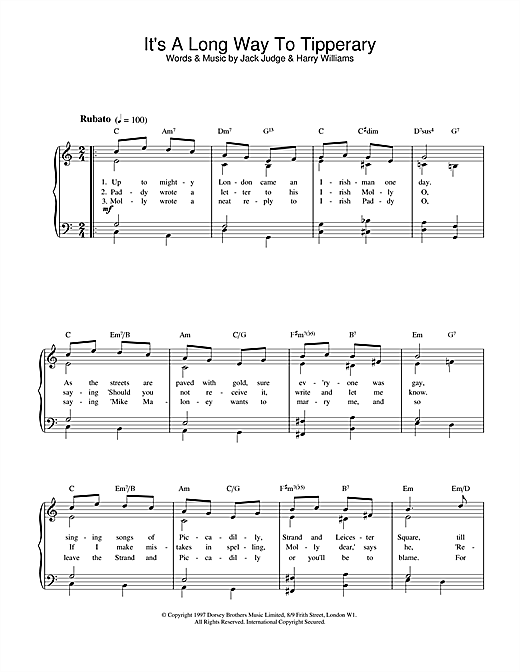 Jack Judge It's A Long Way To Tipperary sheet music notes and chords. Download Printable PDF.