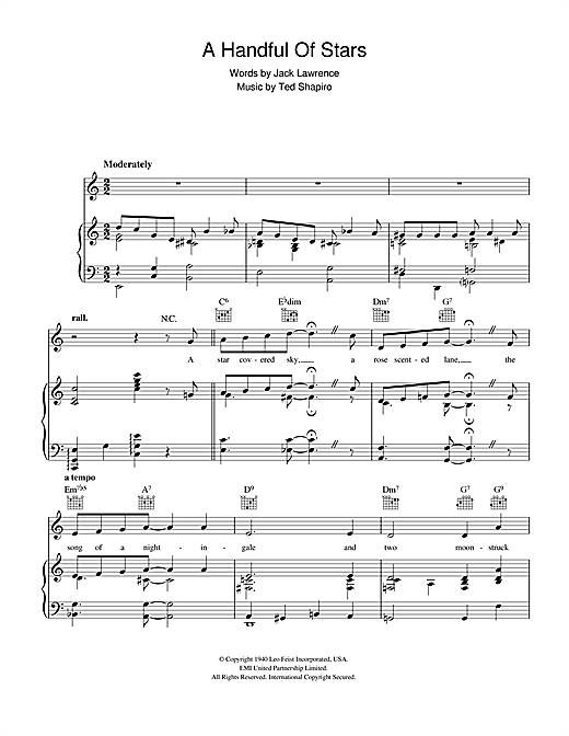 Jack Lawrence A Handful Of Stars sheet music notes and chords. Download Printable PDF.