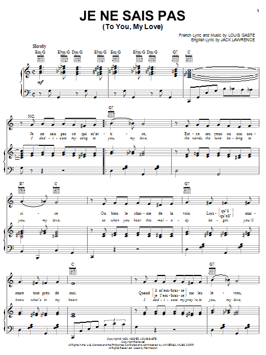 Jack Lawrence Je Ne Sais Pas (To You, My Love) sheet music notes and chords. Download Printable PDF.