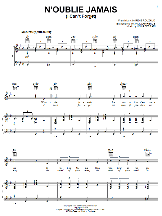 Jack Lawrence N'oublie Jamais (I Can't Forget) sheet music notes and chords. Download Printable PDF.