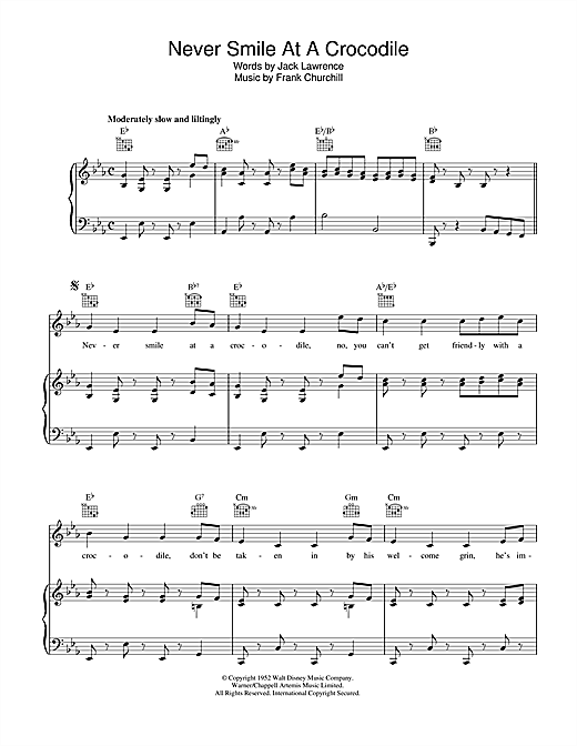 Jack Lawrence Never Smile At A Crocodile sheet music notes and chords. Download Printable PDF.