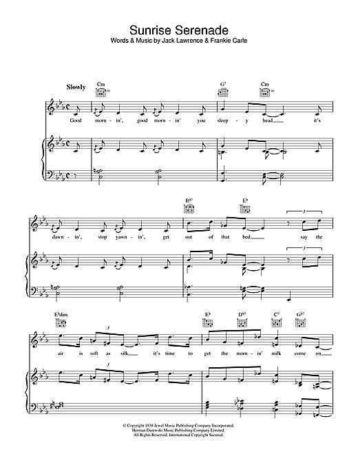 Jack Lawrence Sunrise Serenade sheet music notes and chords. Download Printable PDF.