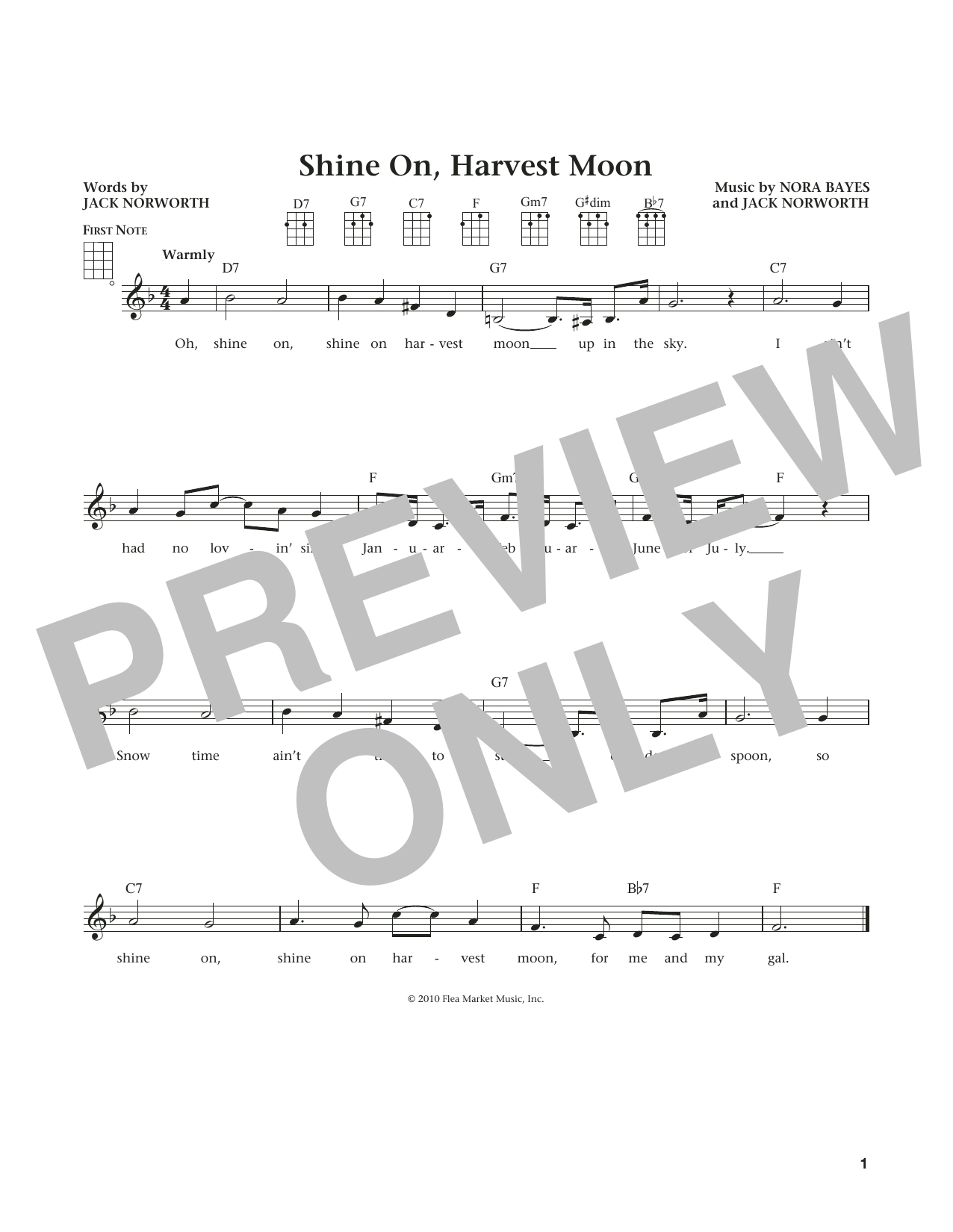 Jack Norworth Shine On, Harvest Moon (from The Daily Ukulele) (arr. Liz and Jim Beloff) sheet music notes and chords. Download Printable PDF.