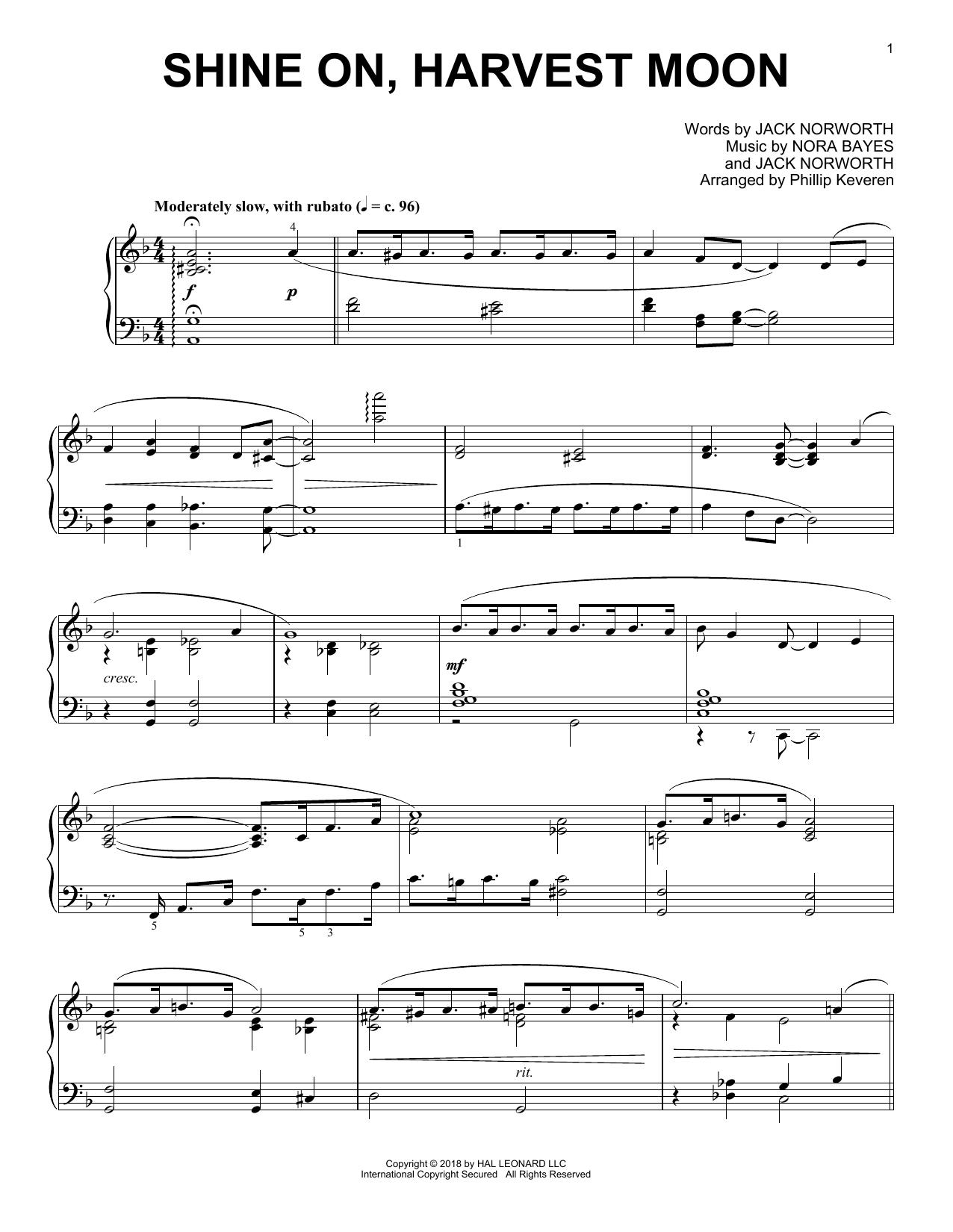 Jack Norworth Shine On, Harvest Moon [Jazz version] (arr. Phillip Keveren) sheet music notes and chords. Download Printable PDF.