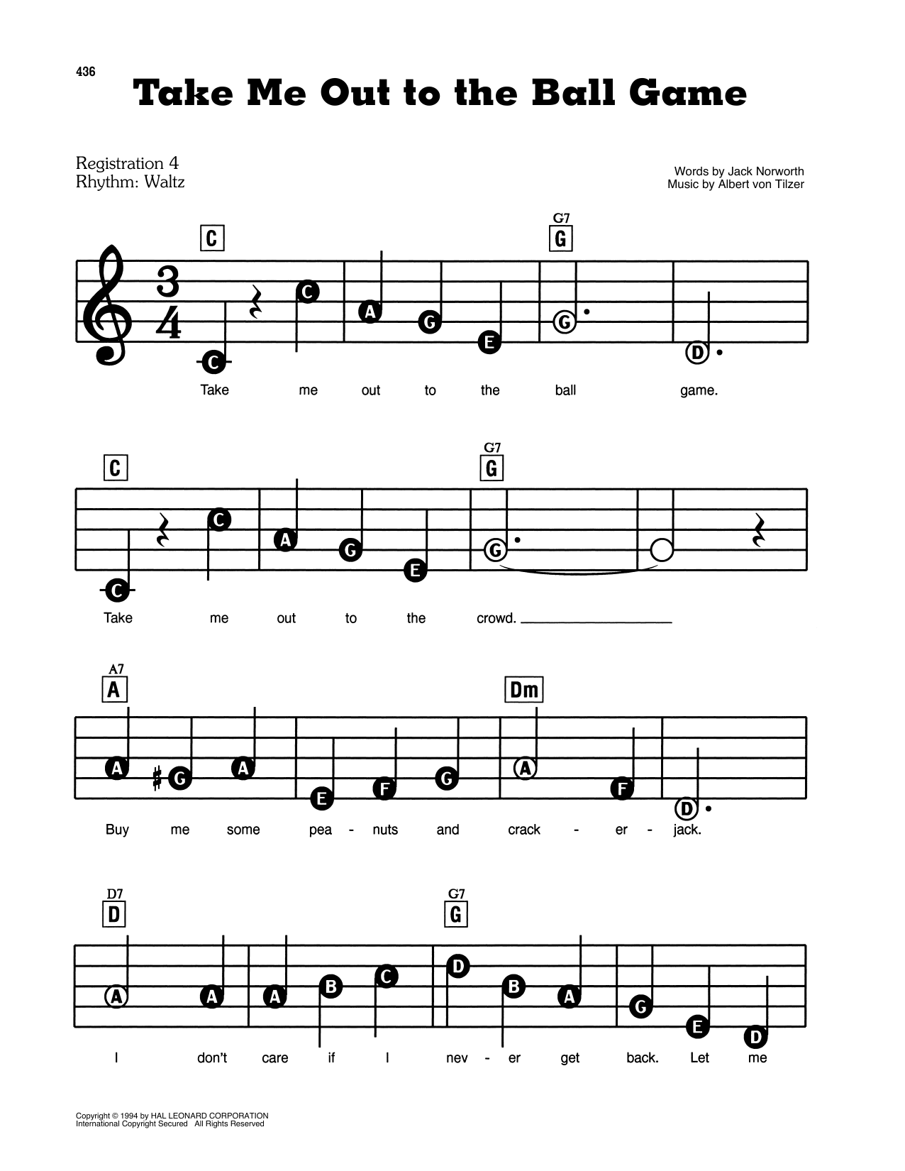 Jack Norworth And Albert Von Tilzer Take Me Out To The Ball Game Sheet Music Pdf Notes Chords Children Score Easy Guitar Tab Download Printable Sku 446129