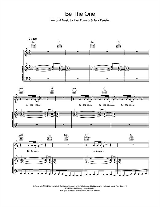 Jack Penate Be The One sheet music notes and chords. Download Printable PDF.
