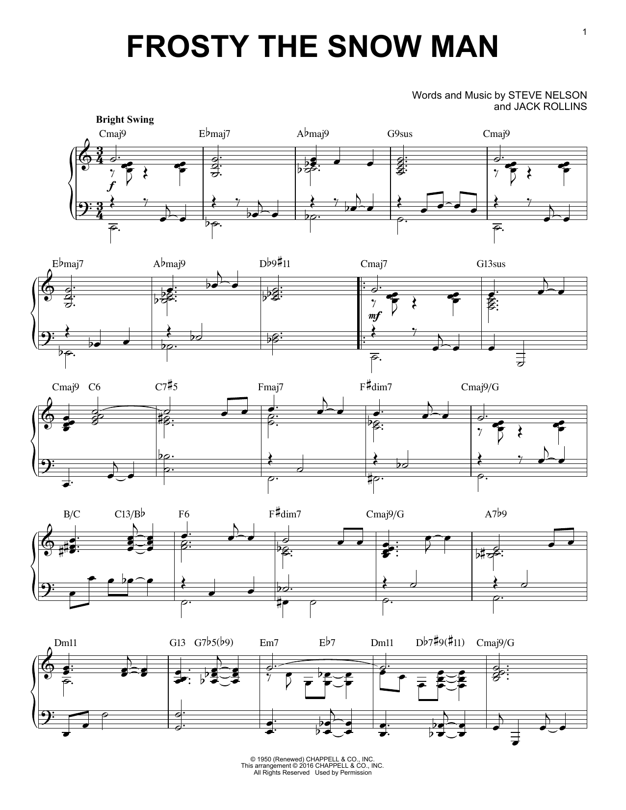 Jack Rollins Frosty The Snow Man sheet music notes and chords. Download Printable PDF.