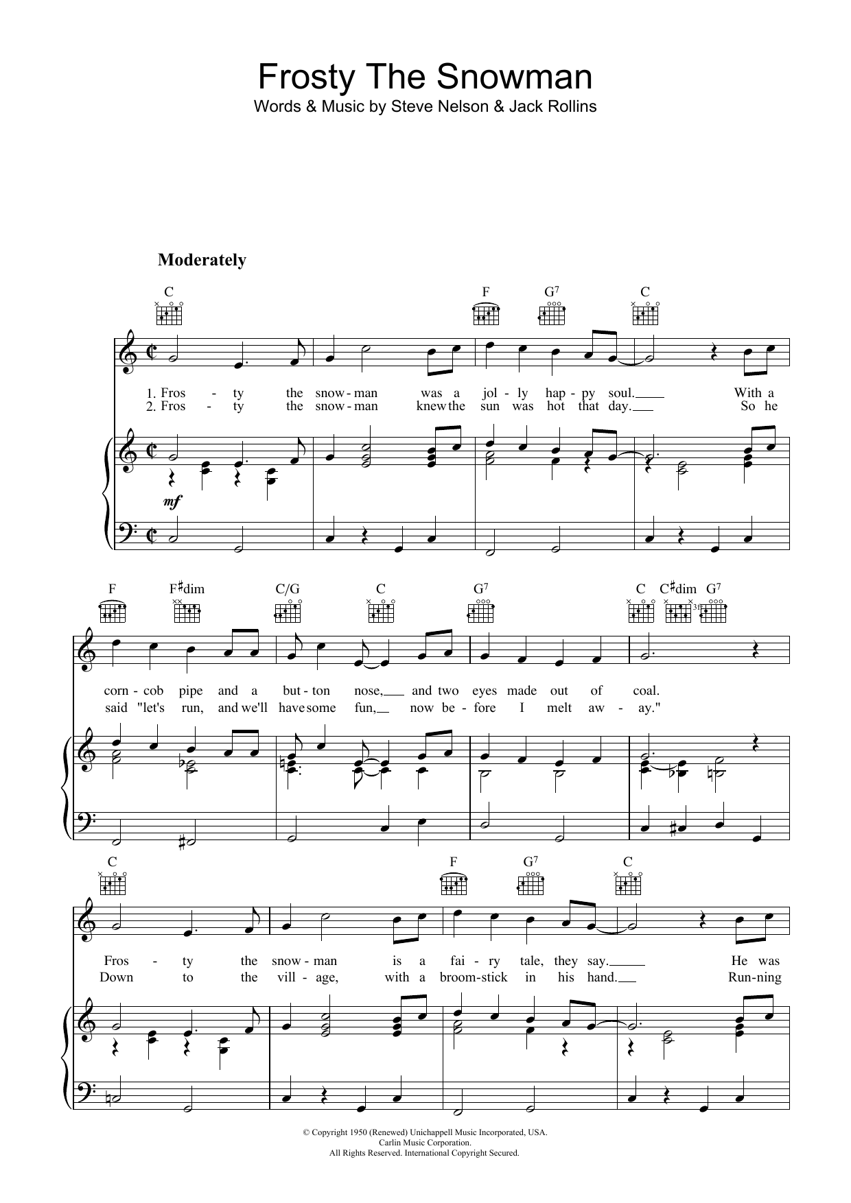 The Ronettes Frosty The Snowman sheet music notes and chords. Download Printable PDF.