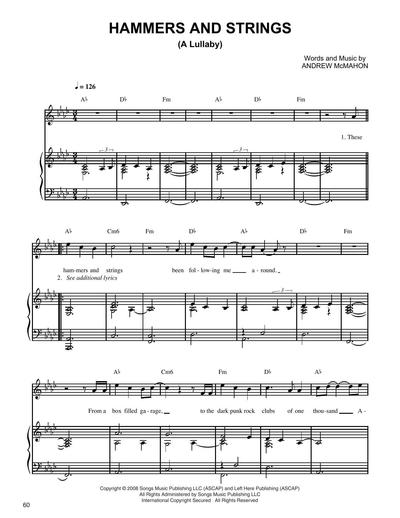 Jack's Mannequin Hammers And Strings (A Lullaby) sheet music notes and chords. Download Printable PDF.