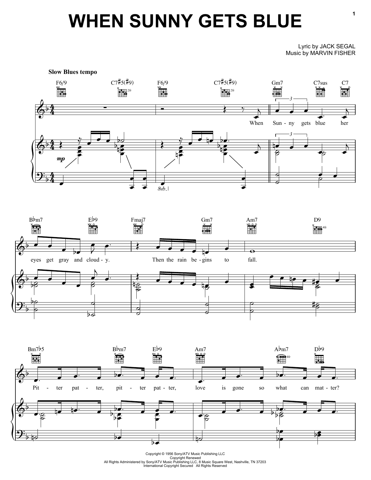 Jack Segal When Sunny Gets Blue sheet music notes and chords. Download Printable PDF.