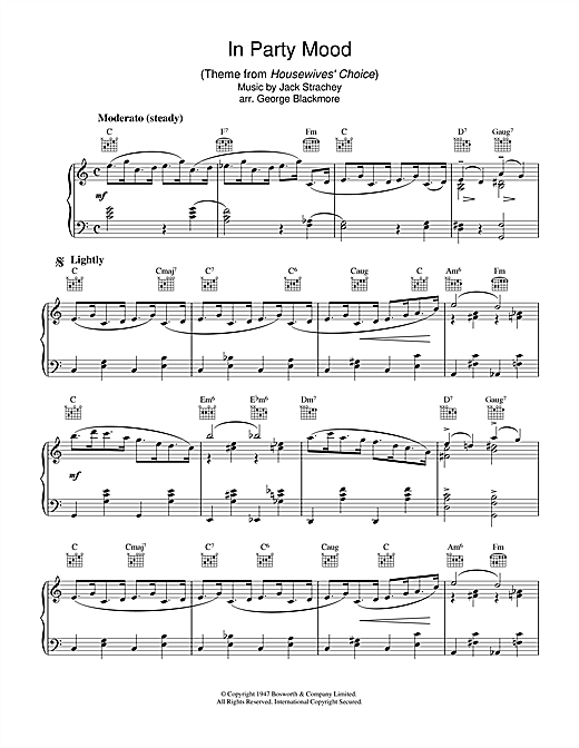 Jack Strachey In Party Mood (theme from Housewives' Choice) sheet music notes and chords. Download Printable PDF.