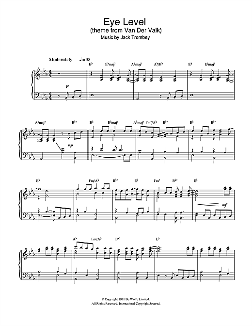 Jack Trombey Eye Level (theme from Van Der Valk) sheet music notes and chords. Download Printable PDF.