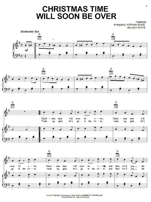 Jack White Christmas Time Will Soon Be Over sheet music notes and chords. Download Printable PDF.