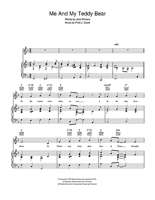 Jack Winters Me And My Teddy Bear sheet music notes and chords