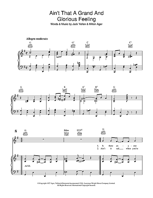 Jack Yellen Ain't That A Grand And Glorious Feeling sheet music notes and chords. Download Printable PDF.