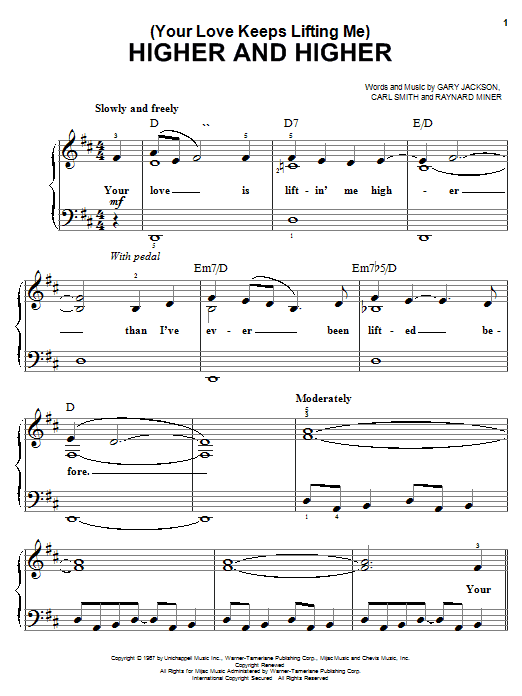 Jackie Wilson (Your Love Keeps Lifting Me) Higher And Higher sheet music notes and chords