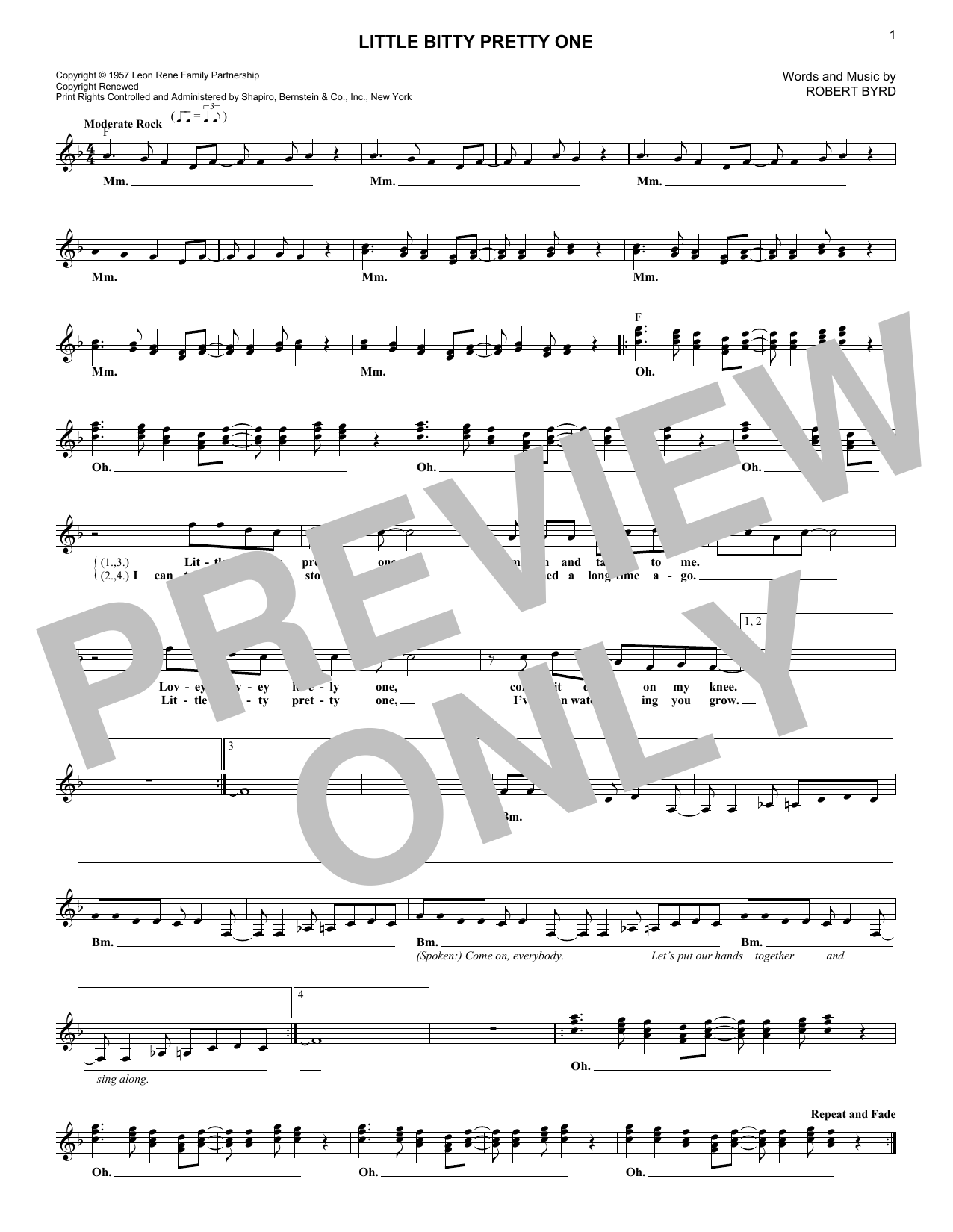 Jackson 5 Little Bitty Pretty One sheet music notes and chords. Download Printable PDF.