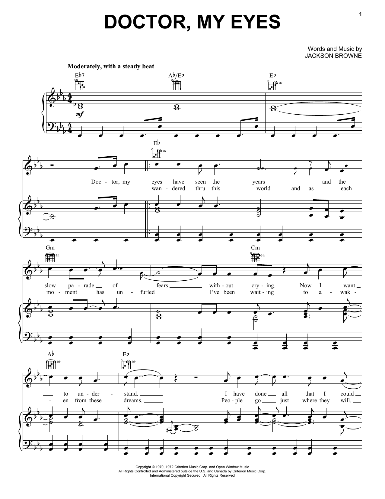 Jackson Browne Doctor, My Eyes sheet music notes and chords. Download Printable PDF.