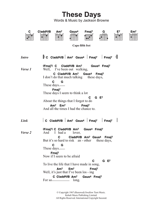 Jackson Browne These Days sheet music notes and chords. Download Printable PDF.
