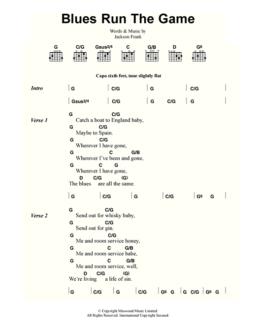 Jackson Frank Blues Run The Game sheet music notes and chords. Download Printable PDF.