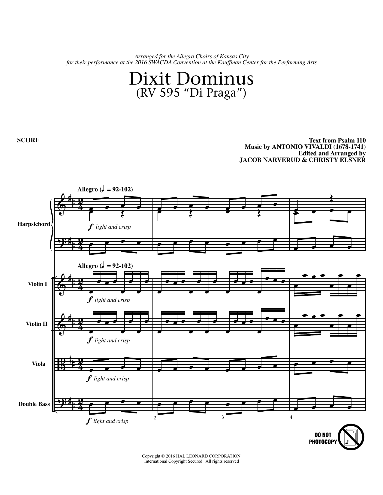 Jacob Narverud Dixit Dominus Instrumental Parts - Conductor sheet music notes and chords. Download Printable PDF.