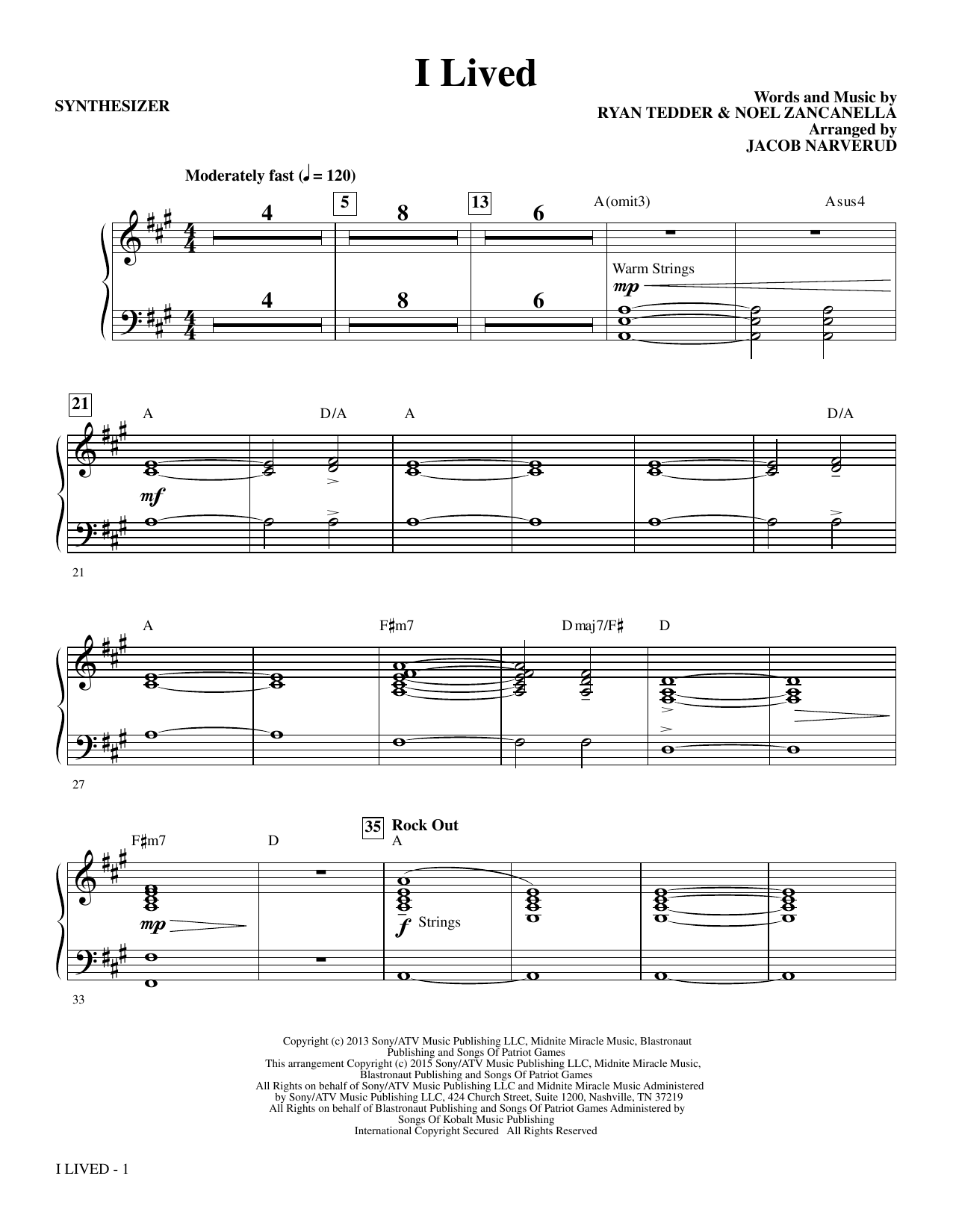 Jacob Narverud I Lived - Synthesizer sheet music notes and chords. Download Printable PDF.