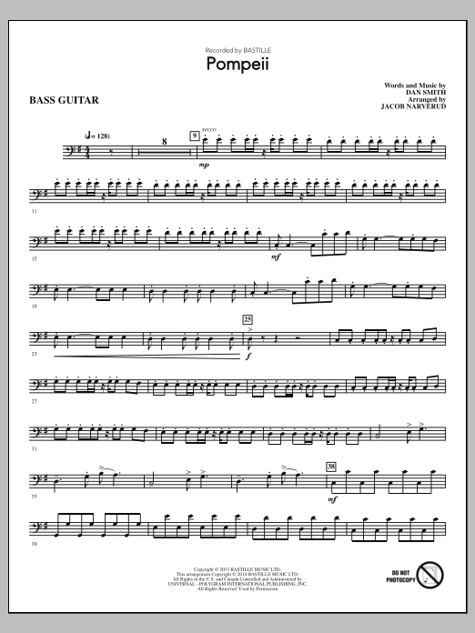 Jacob Narverud Pompeii - Bass sheet music notes and chords. Download Printable PDF.