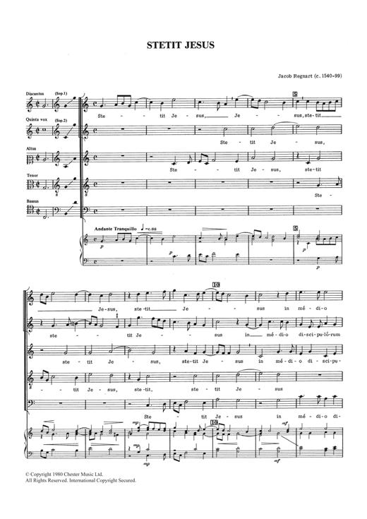 Jacob Regnart Stetit Jesus sheet music notes and chords. Download Printable PDF.