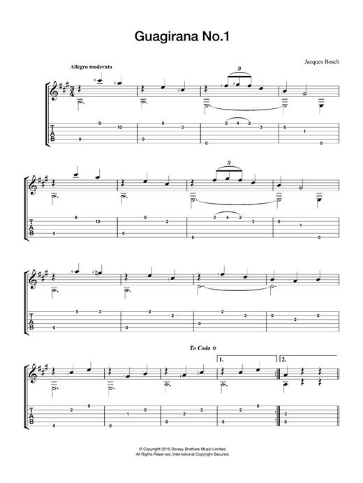 Jacques Bosch Guagirana No. 1 sheet music notes and chords. Download Printable PDF.