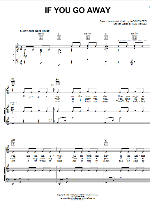 Jacques Brel If You Go Away sheet music notes and chords