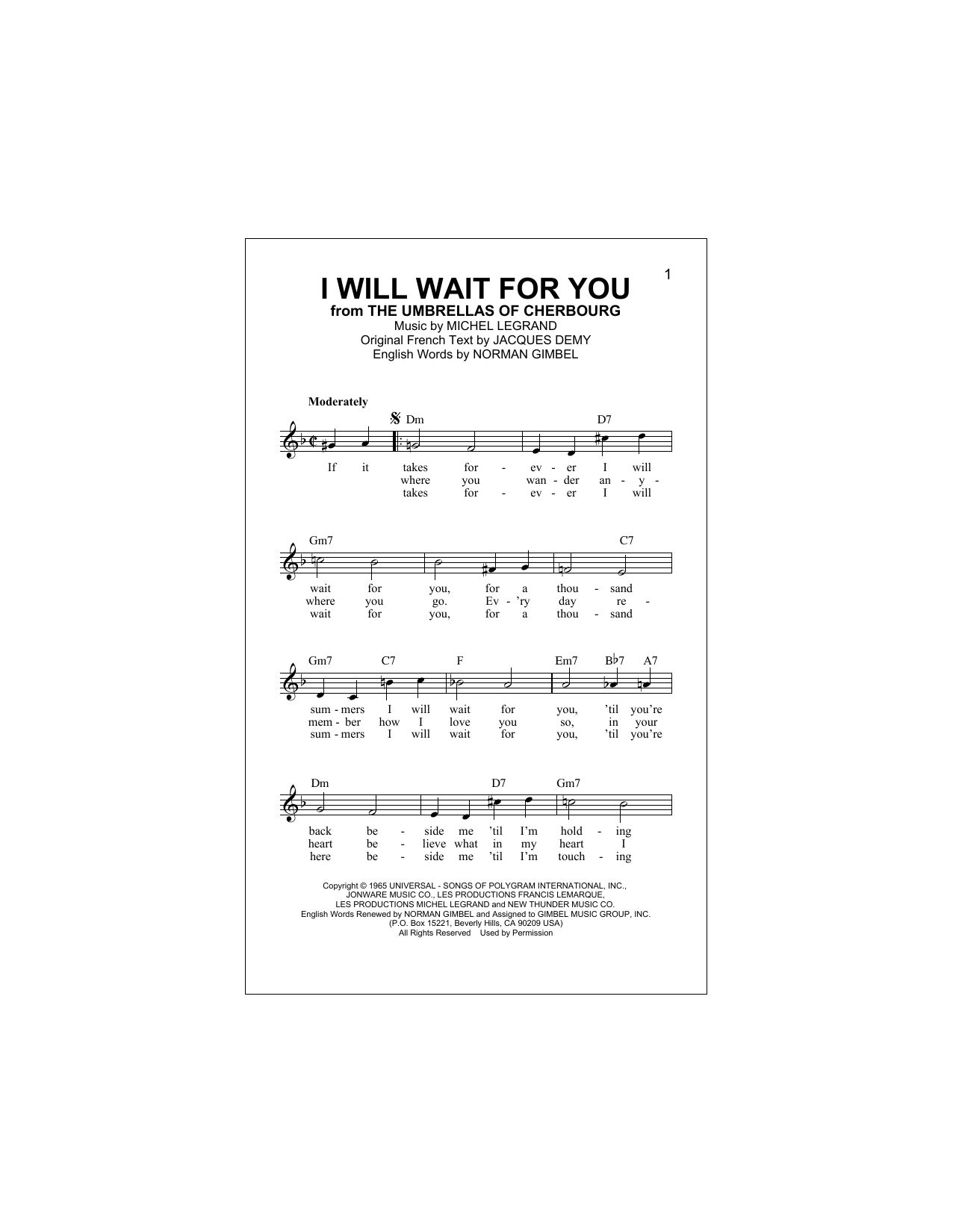 Jacques Demy I Will Wait For You sheet music notes and chords. Download Printable PDF.