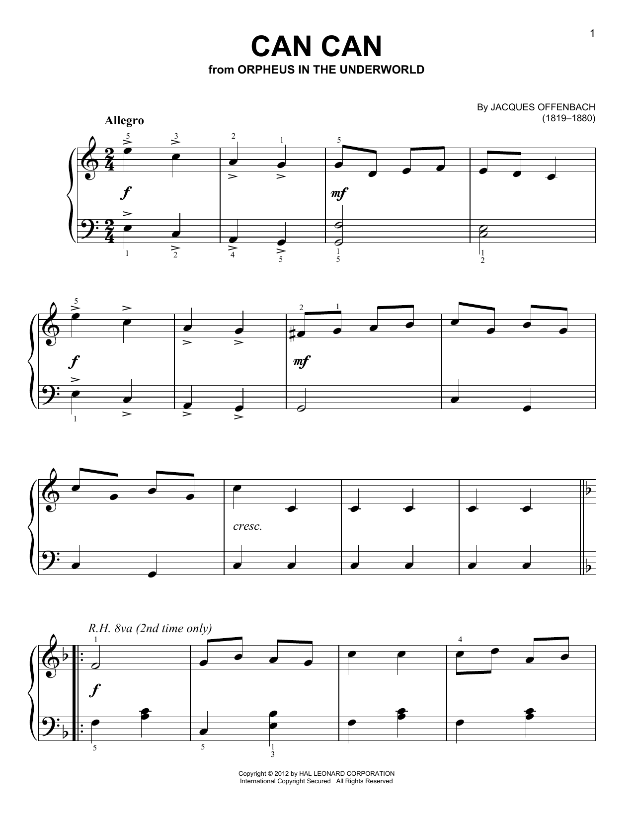 Jacques Offenbach Can Can sheet music notes and chords. Download Printable PDF.