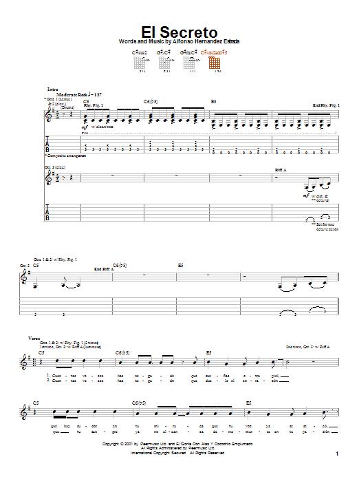 Jaguares El Secreto sheet music notes and chords