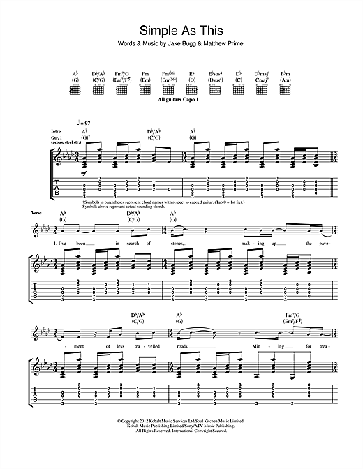 Jake Bugg Simple As This sheet music notes and chords. Download Printable PDF.